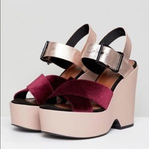ASOS platform wedge shoes size 6 burgundy